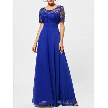 See Thru Floral Lace Empire Waist Evening Dress