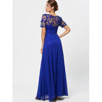 See Thru Floral Lace Empire Waist Evening Dress - BLUE XL