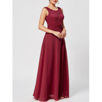 Lace Up Rhinestone Ruched Evening Dress - WINE RED WINE RED