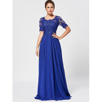 Floral Lace Rhinestone Evening Dress - BLUE L