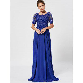 Floral Lace Rhinestone Evening Dress - BLUE BLUE