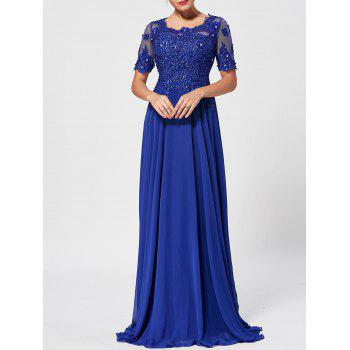 Floral Lace Rhinestone Evening Dress