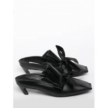 Bow Mid Heel Square Toe Slippers - 38 38
