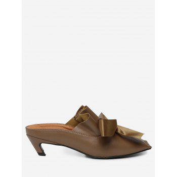 Bow Mid Heel Square Toe Slippers - BROWN 37