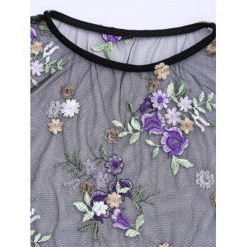 Mesh Floral Embroidered Cover Up - BLACK BLACK