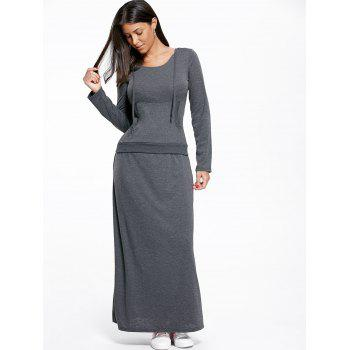 Kangaroo Pocket Hoodie and Maxi Skirt - DEEP GRAY M