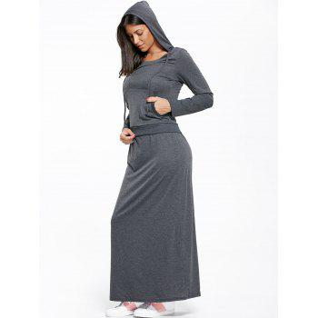 Kangaroo Pocket Hoodie and Maxi Skirt - DEEP GRAY XL