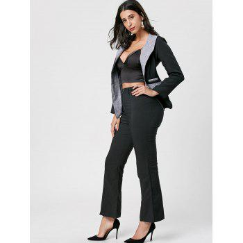 Color Block One Button Blazer - BLACK M