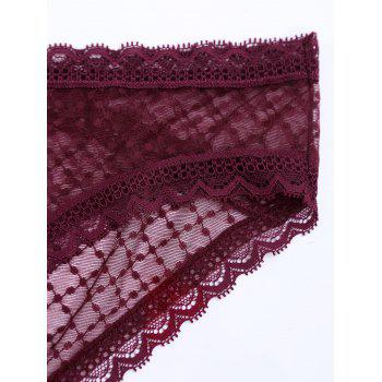 See Through Mesh Panties - WINE RED ONE SIZE