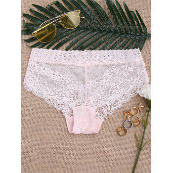 Scalloped See Through Lace Panties - LIGHT PINK ONE SIZE