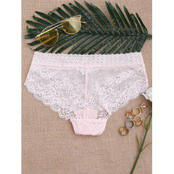 Scalloped See Through Lace Panties - ONE SIZE ONE SIZE