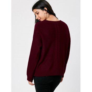 Cable Knit Keyhole Neck Sweater - WINE RED 2XL