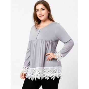 Plus Size Lace Trim Babydoll Top - LIGHT GRAY XL