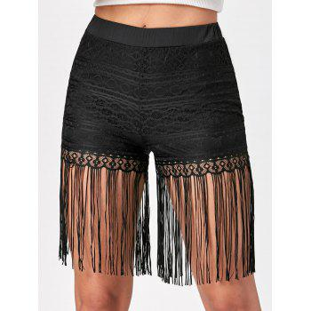 Lace Fringe Shorts - BLACK BLACK