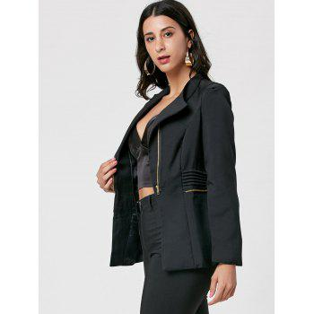 Ruched Zipper Design Tunic Blazer - BLACK BLACK