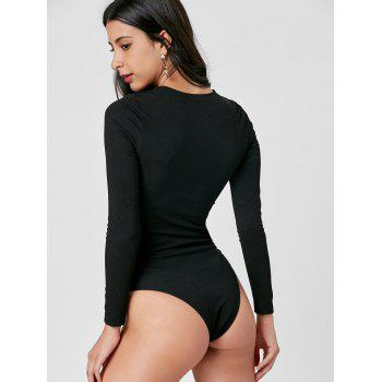 Knitted Criss Cross Bodysuit - BLACK BLACK