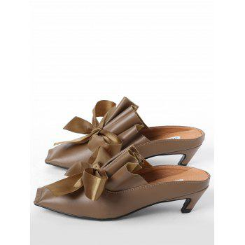 Bow Mid Heel Square Toe Slippers - BROWN BROWN