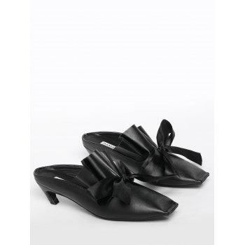 Bow Mid Heel Square Toe Slippers - BLACK BLACK
