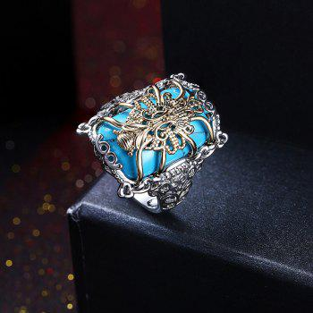Faux Gem Geometric Engraved Insect Ring - SILVER 7