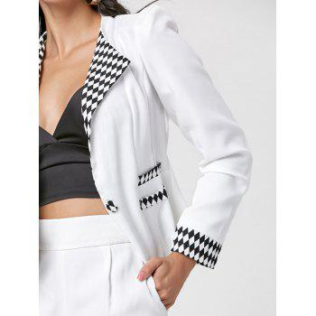 One Button Argyle Blazer - WHITE WHITE