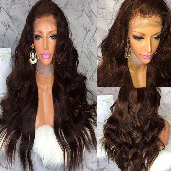 Long Fluffy Free Part Body Wave Human Hair Lace Front Wig - BROWN BROWN