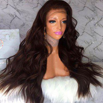 Long Fluffy Free Part Body Wave Human Hair Lace Front Wig - BROWN