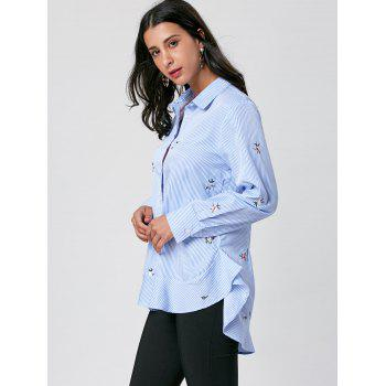 Striped Embroidery High Low Hem Shirt - BLUE STRIPE M