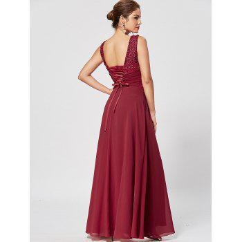 Lace Up Rhinestone Ruched Evening Dress - WINE RED L