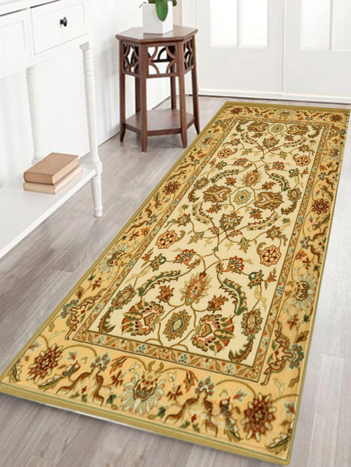 Persian Totem Printed Home Decor Antiskid Rug blooming flowers and leaves printed antiskid area rug