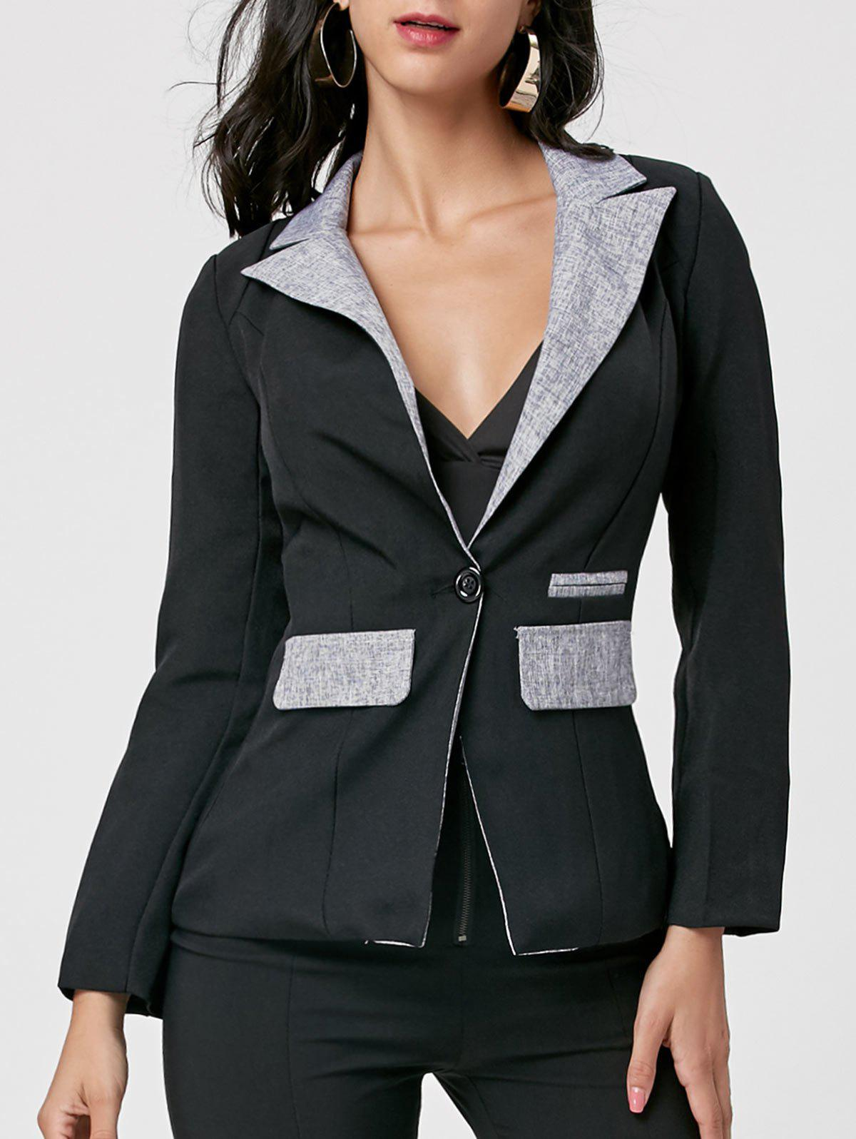 Color Block One Button Blazer - BLACK L