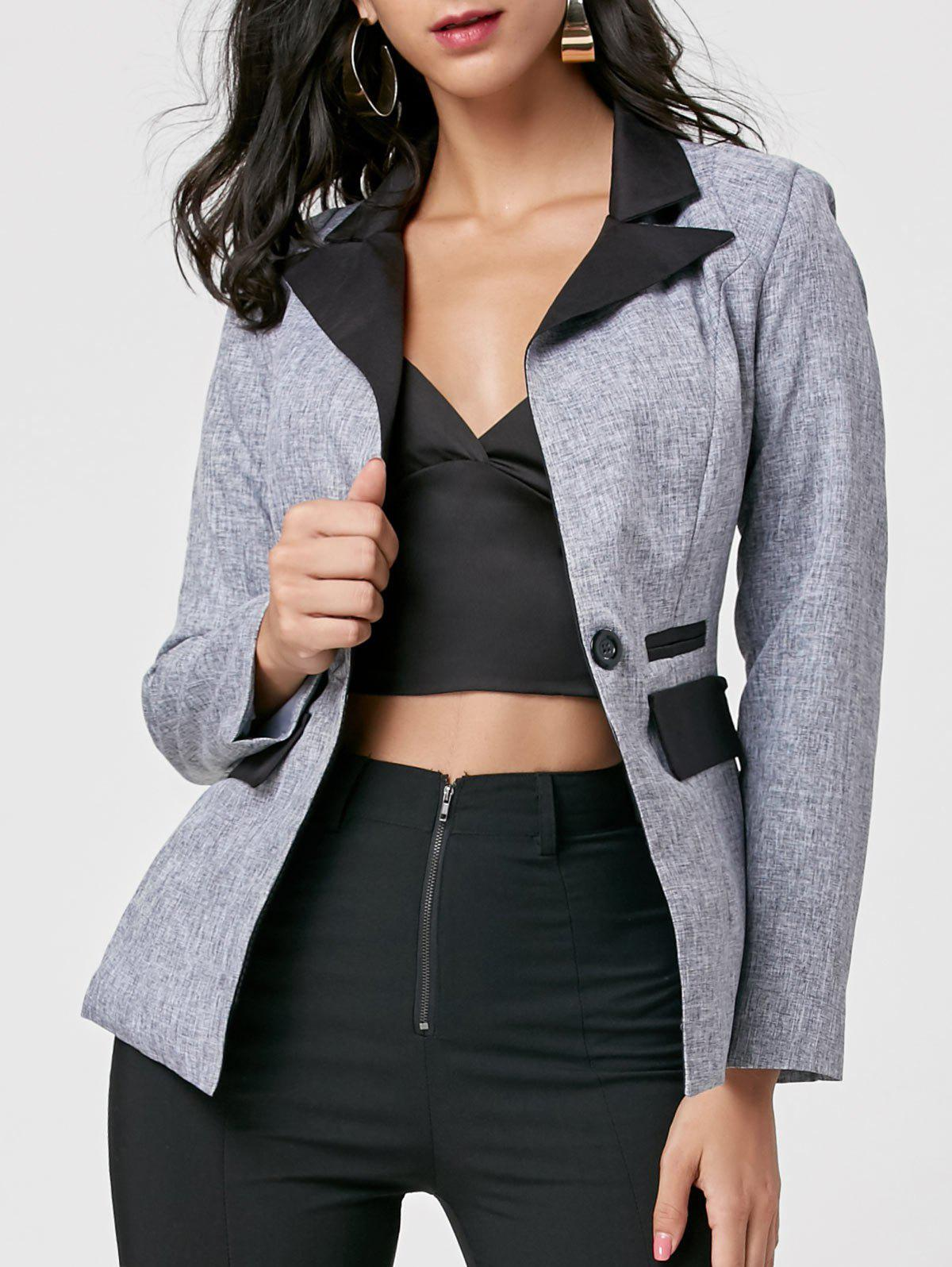 Color Block One Button Blazer - GRAY M