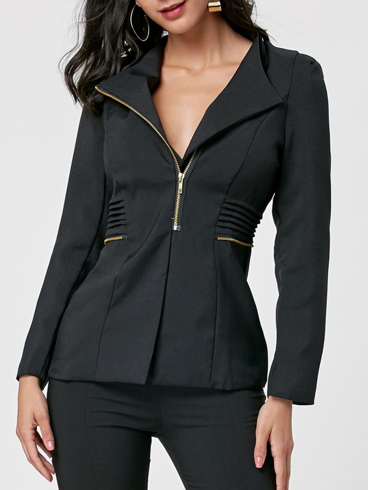Ruched Zipper Design Tunic Blazer - Noir M