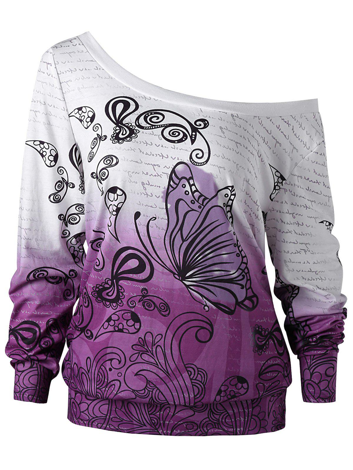 Plus Size Butterfly Print Ombre Sweatshirt plus size letter print hooded sweatshirt dress