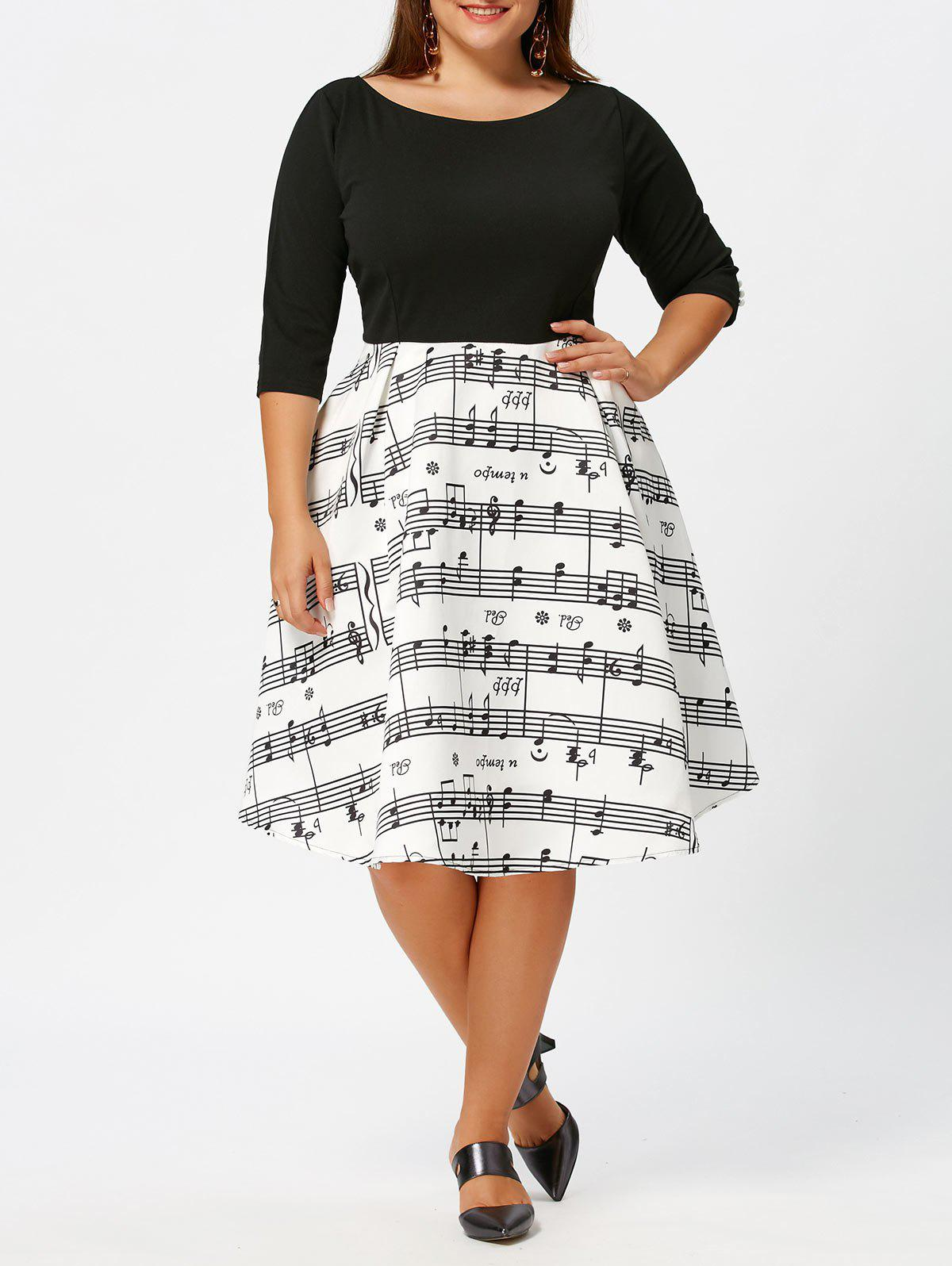 Plus Size Musical Notes Print Vintage Dress - WHITE/BLACK 3XL