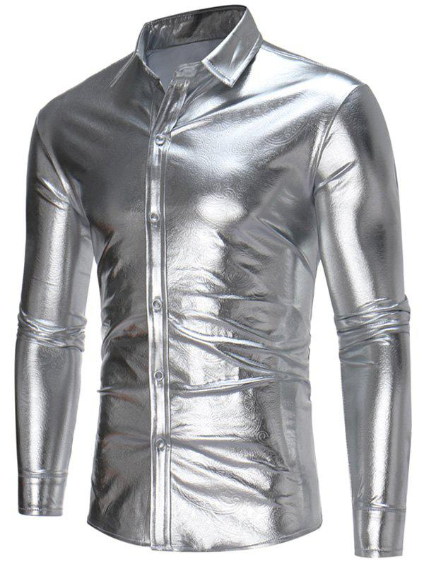 Long Sleeve Embossed Metallic Shirt - SILVER L