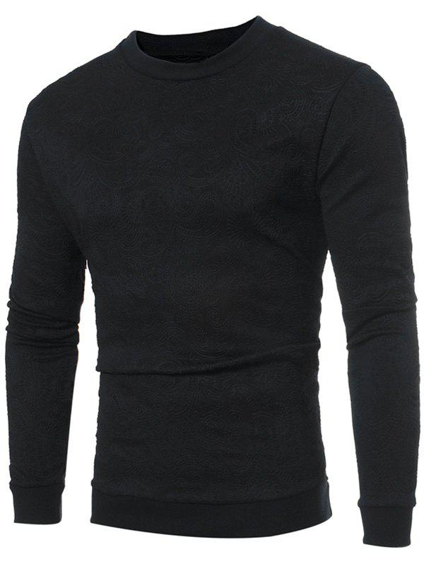 Crew Neck Flower Embossed Sweatshirt - BLACK XL