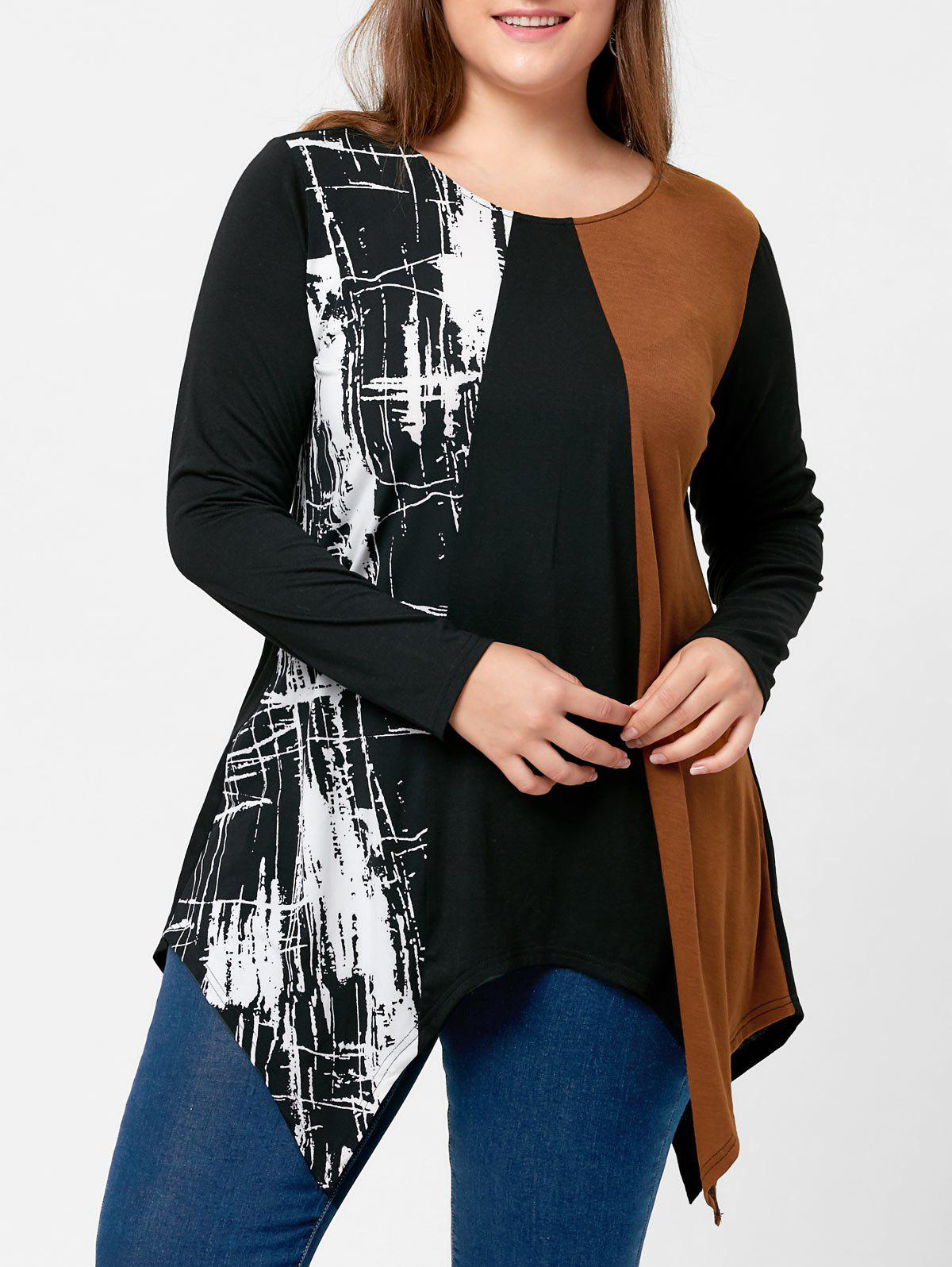 2018 Plus Size Long Sleeve Handkerchief T Shirt Black Xl