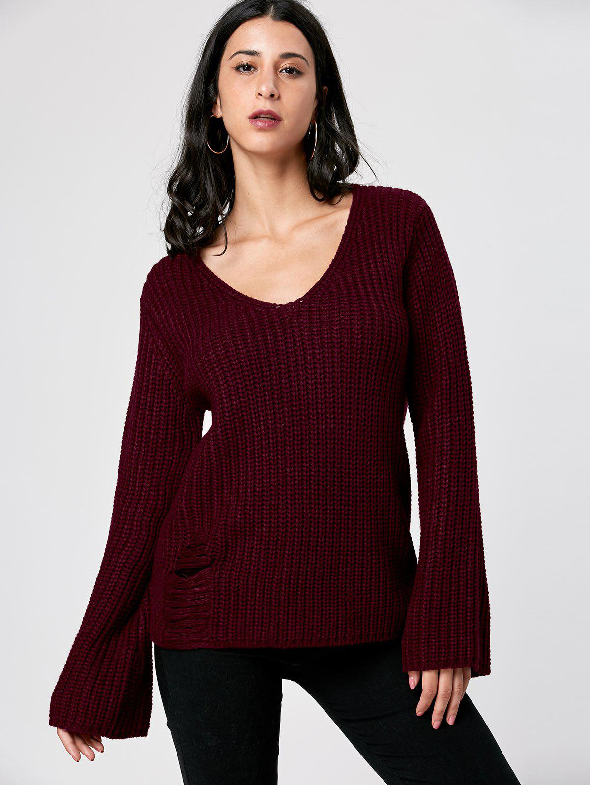2018 Ripped V Neck Sweater DARK RED M In Sweaters & Cardigans ...