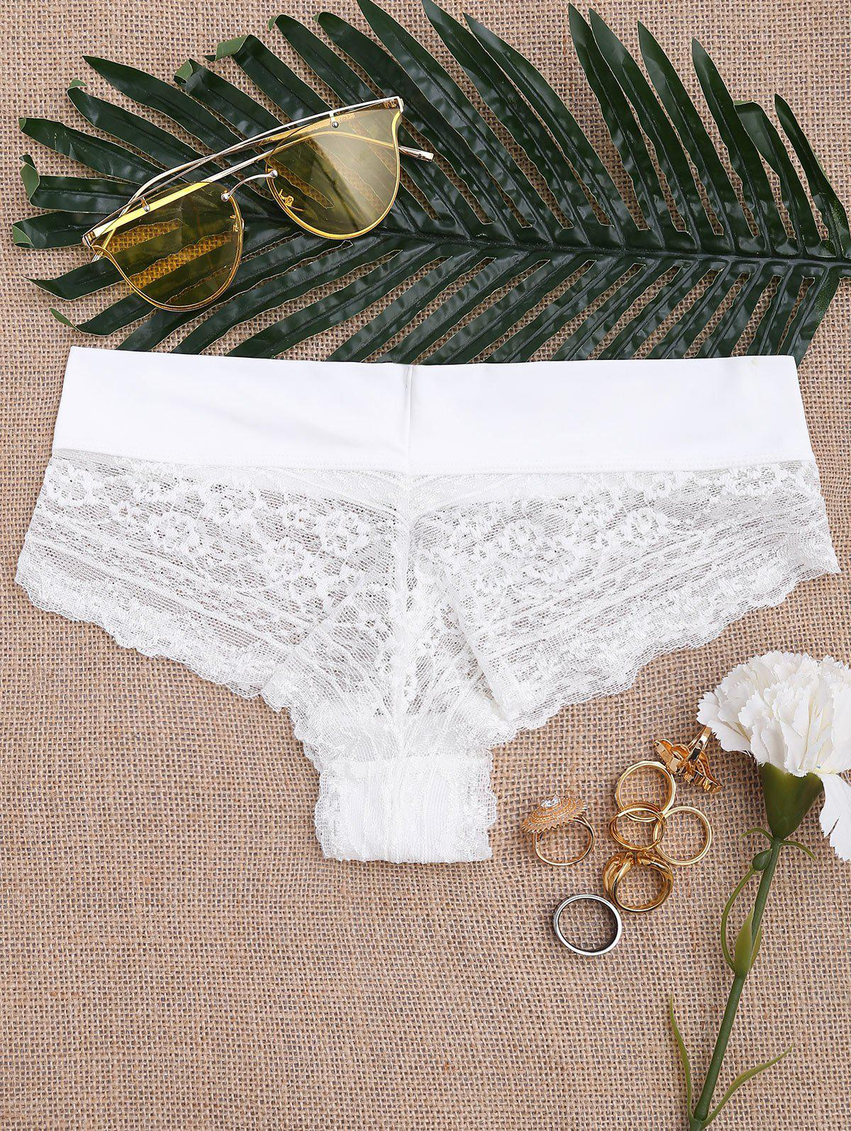 Lace See Through Sexy Panties - WHITE L