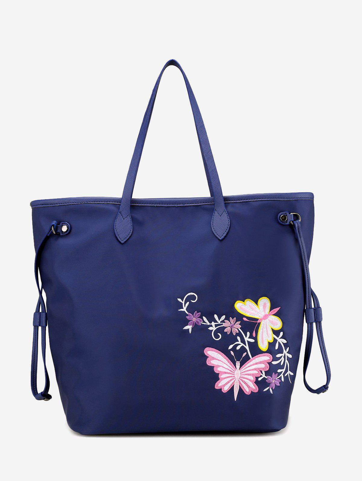 Flower Embroidery Drawstring Shoulder Bag - BLUE