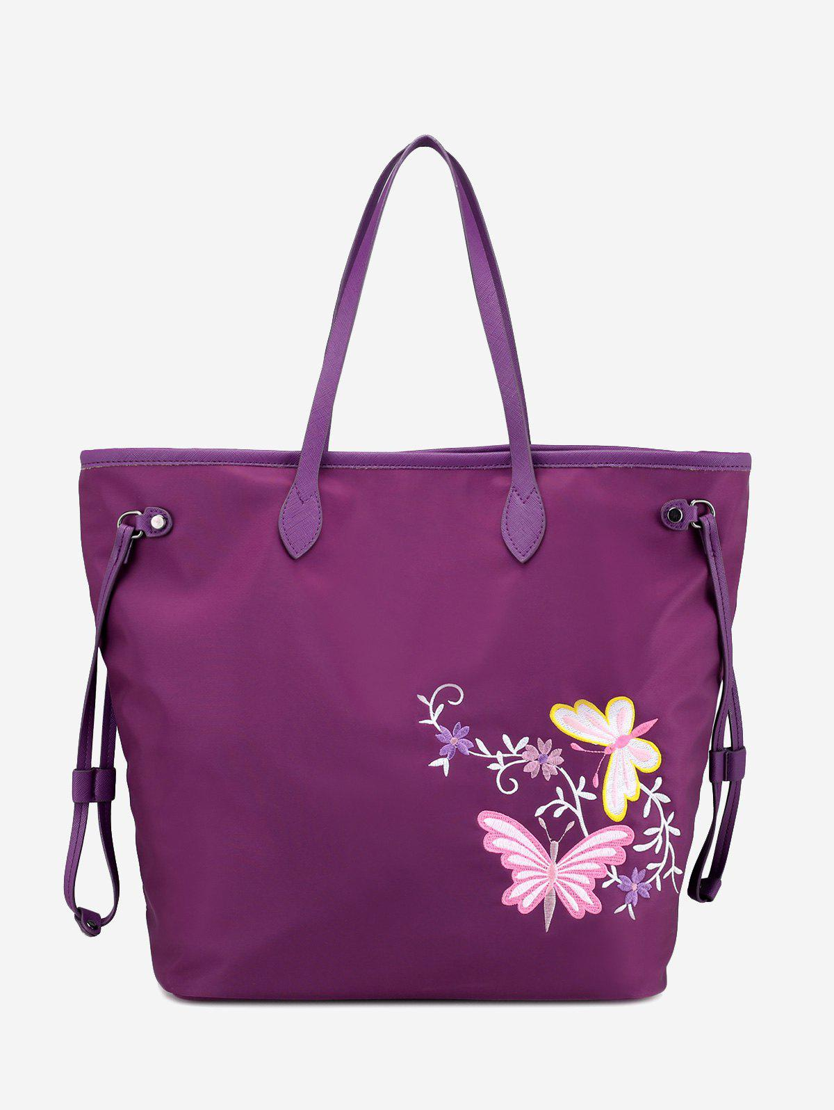 Flower Embroidery Drawstring Shoulder Bag - PURPLE