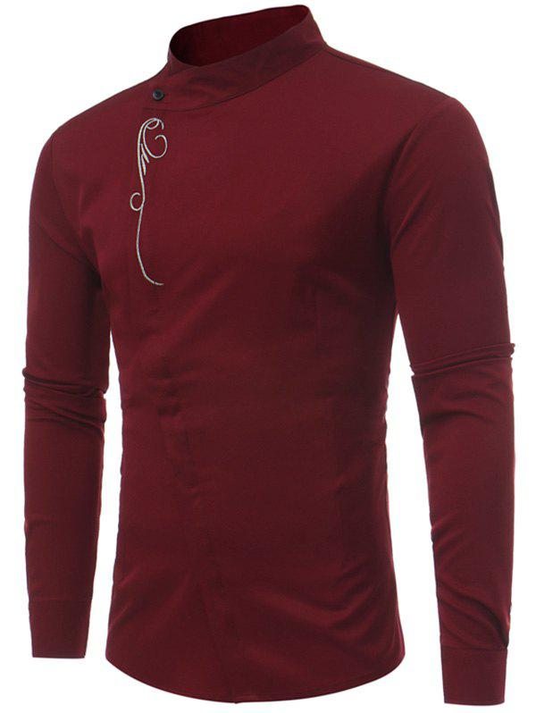 Mandarin Collar Asymmetric Button Up Embroidery Shirt - WINE RED S