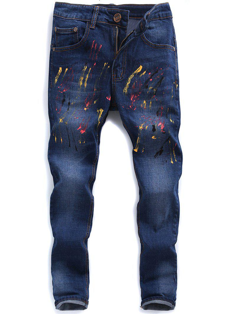 Zip Fly Faded Paint Splatter Jeans meticulous color ink landscapes ladies figure filial piety chinese painting book written by chen shao mei