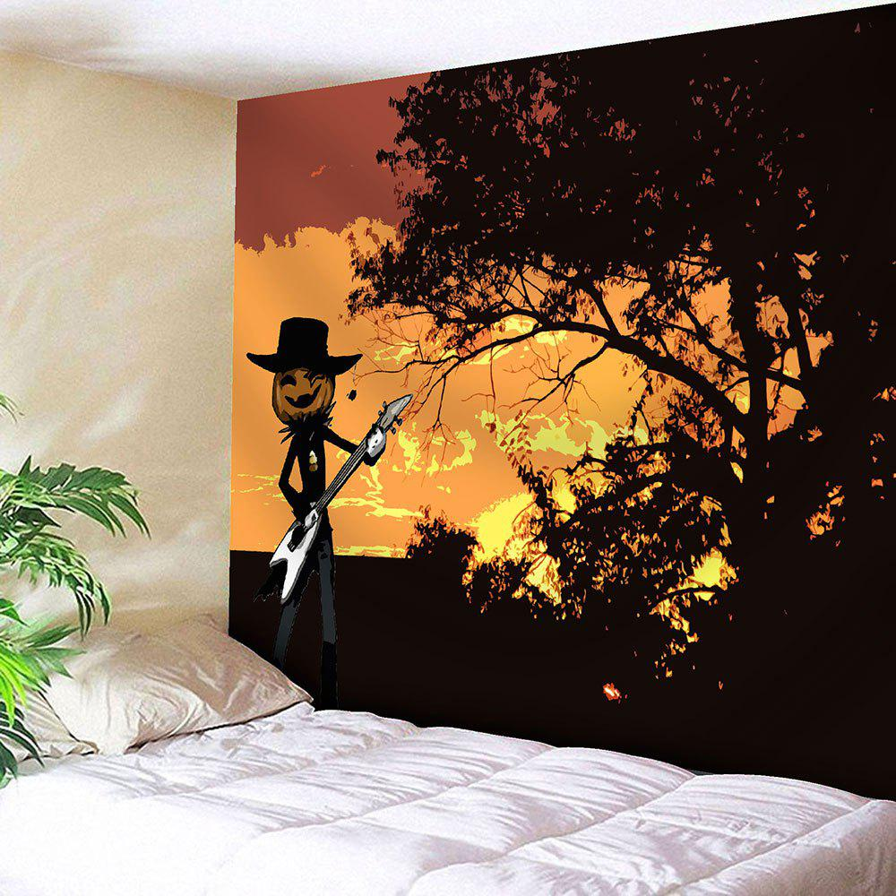 Halloween Pumpkin Graphic Wall Decor Tapestry - YELLOW W91 INCH * L71 INCH