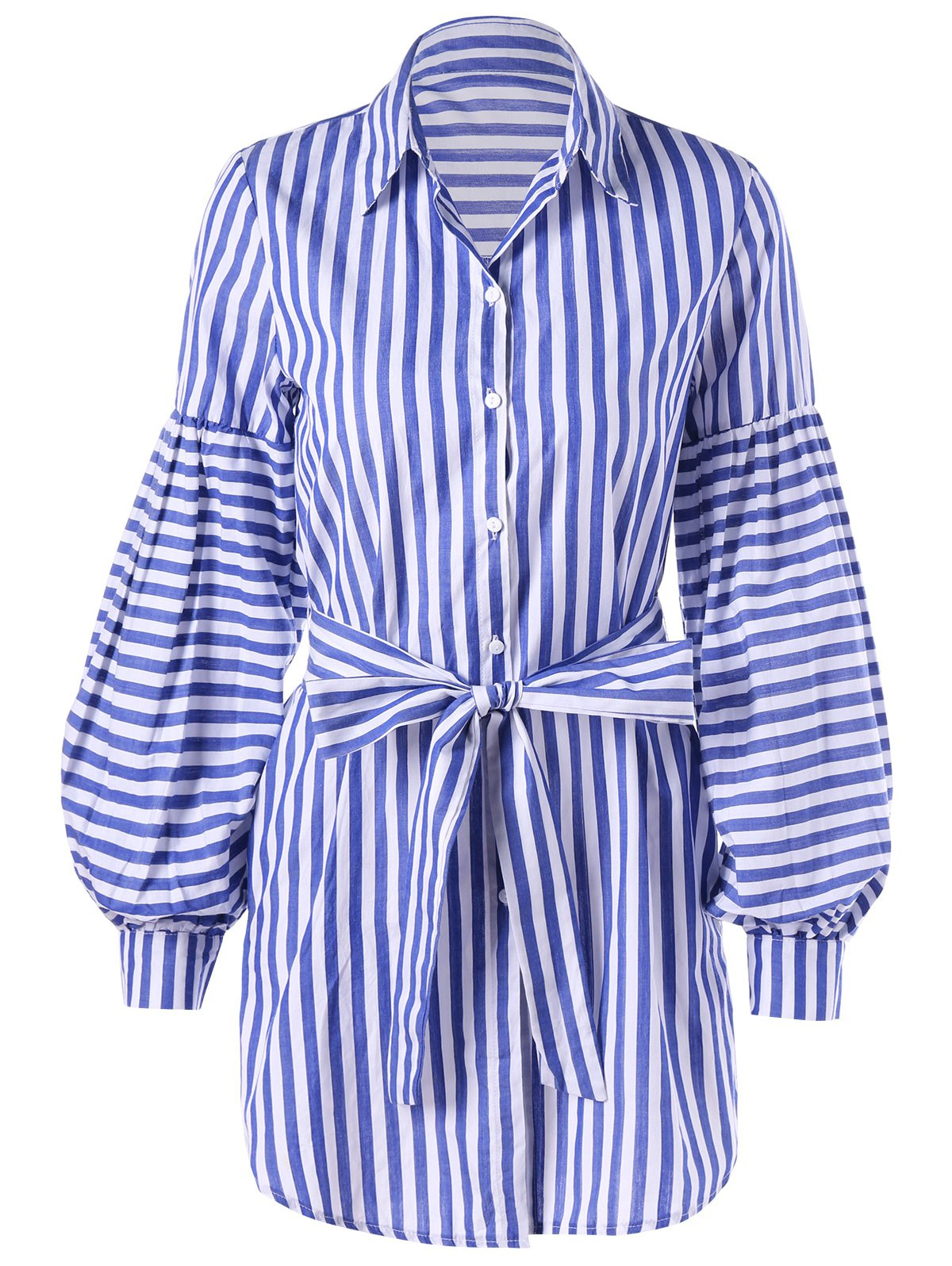 2018 striped tie belt lantern sleeve shirt dress blue for Striped shirt with tie