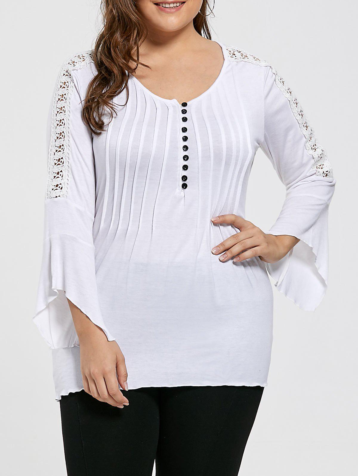 Plus Size Crinkle Lace Crochet Bell Sleeve T-shirt - WHITE 3XL