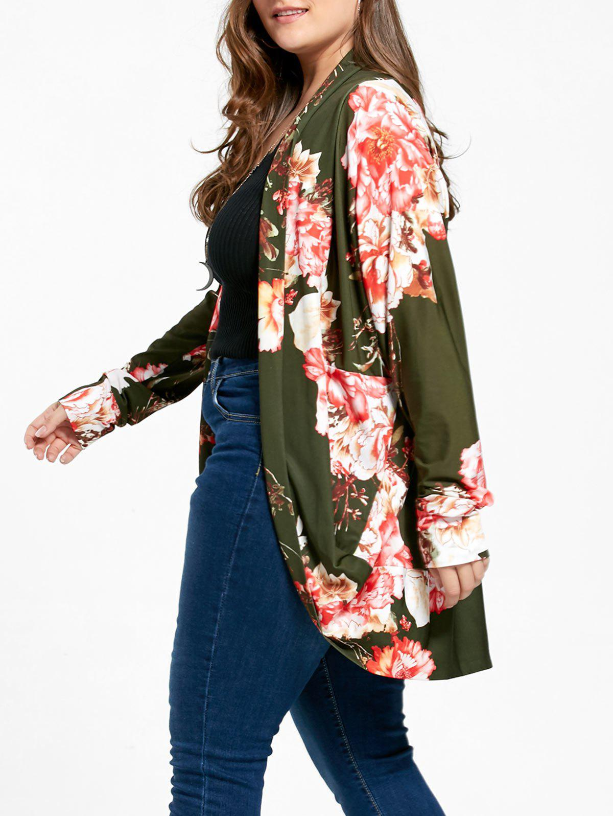 Floral Plus Size Open Front Coat - GREEN 5XL