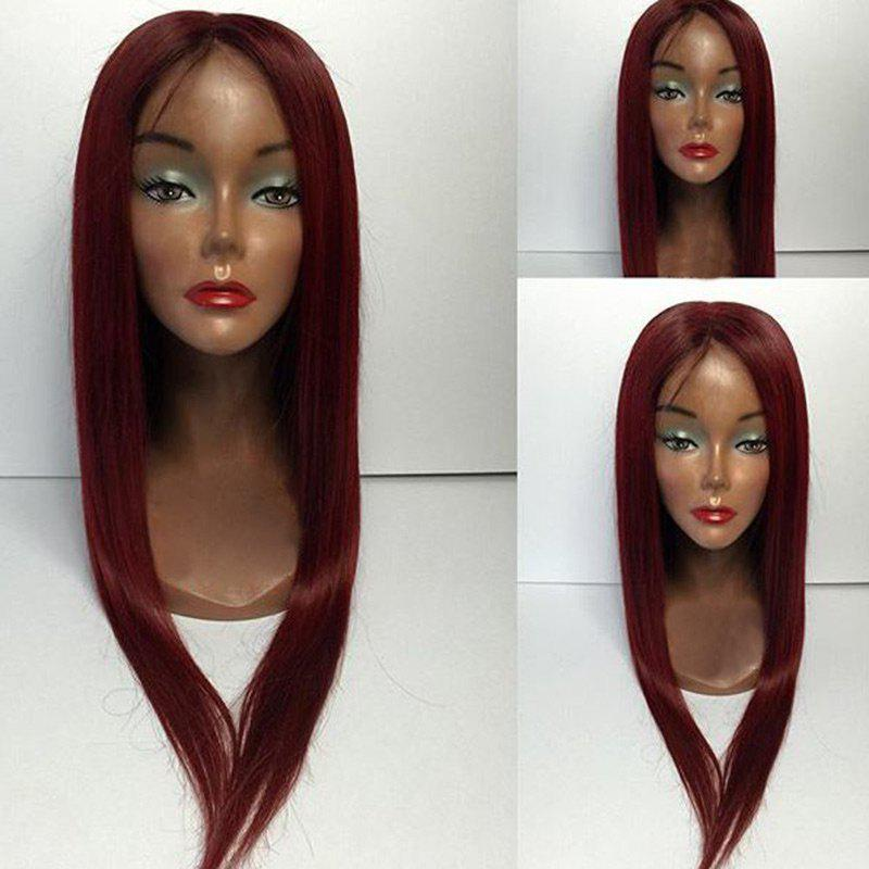 Long Middle Part Straight Lace Front Human Hair Wigs - WINE RED