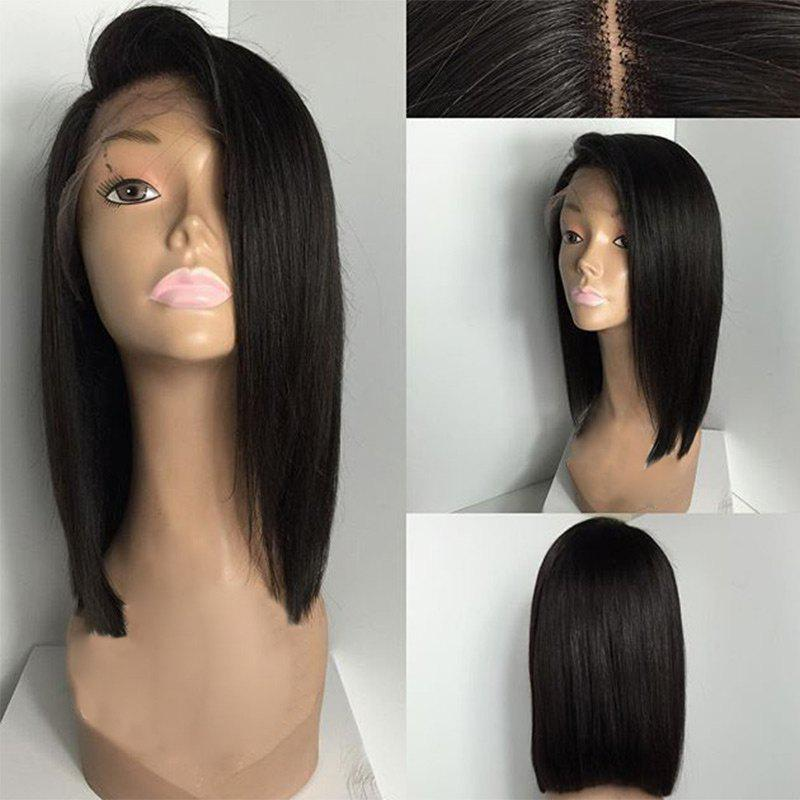 Deep Side Part Straight Medium Bob Lace Front Human Hair Wig - NATURAL BLACK