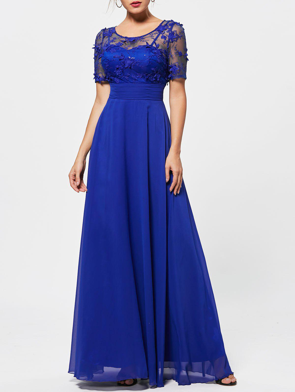 Voir Thru Floral Lace Empire Waist Evening Dress - Bleu L
